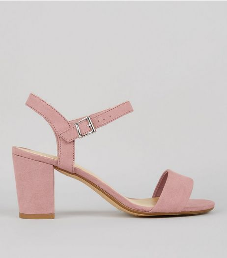 Teens Pink Suedette Block Heeled Sandals  | New Look