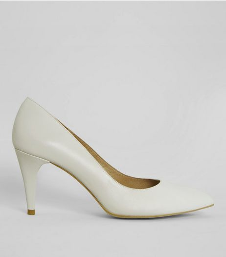 Cream Leather Pointed Heels | New Look