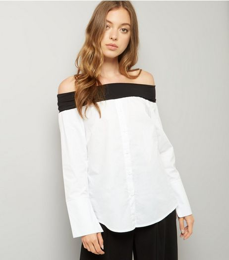 White Jersey Fold Poplin Bardot Shirt | New Look