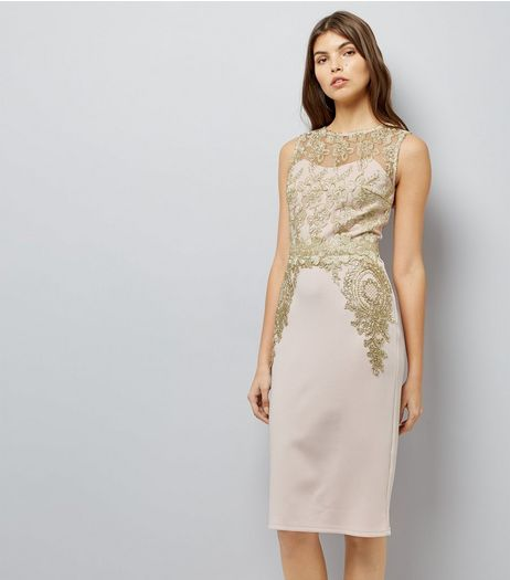 AX Paris Pink Metallic Lace Midi Dress | New Look