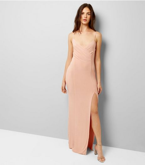 AX Paris Shell Pink V Neck Split Side Dress  | New Look