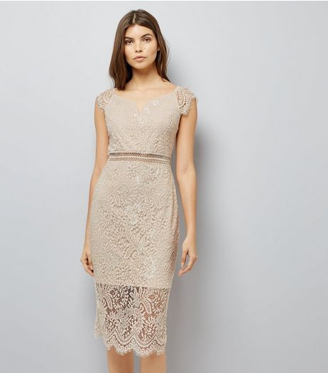 AX Paris Pink Lace Bardot Neck Midi Dress | New Look