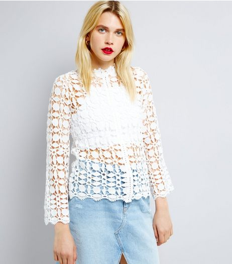 QED White Crochet Long Sleeve Top | New Look