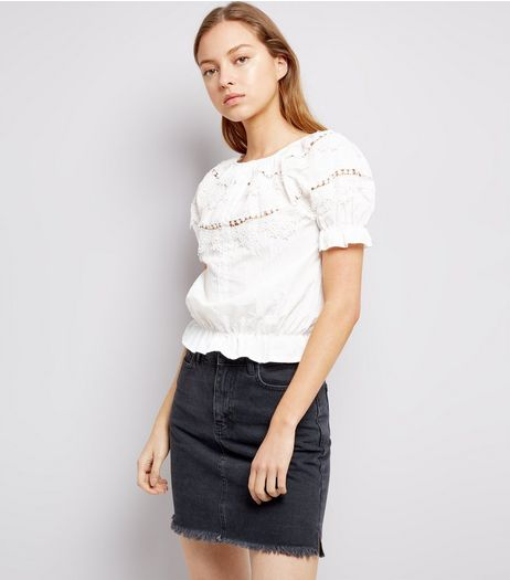 White Lace Trim Cotton Shirt | New Look