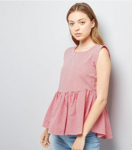 Red Gingham Peplum Hem Top | New Look
