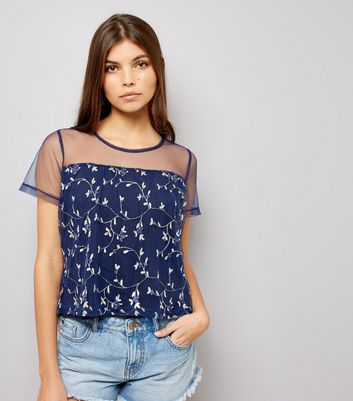 Navy Floral Embroidered Mesh Top