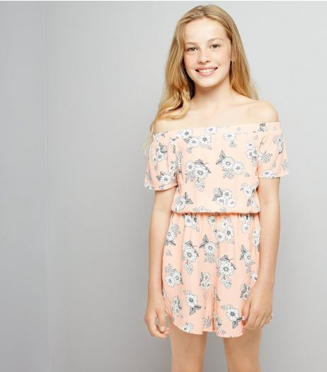 Teens Coral Floral Print Playsuit | New Look