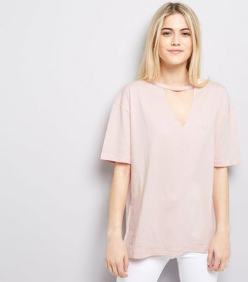 Pink Choker Neck T-Shirt