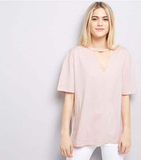 Pink Choker Neck T-Shirt  | New Look