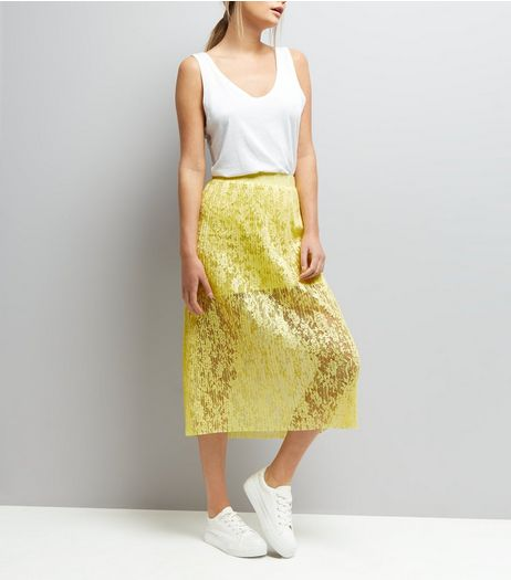 Yellow Lace Half Lined Midi Skirt  | New Look