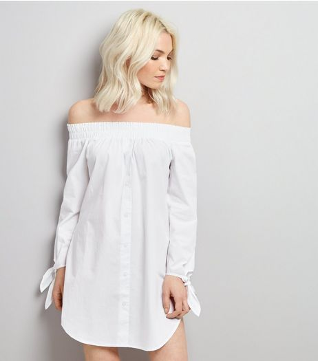 Petite White Shirred Bardot Neck Shirt Dress | New Look