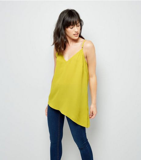 Yellow Aysmmetric Hem Cami Top | New Look