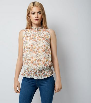 White Floral Shirred Waist Blouse