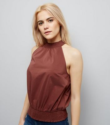 Light Brown High Neck Shirred Waist Top