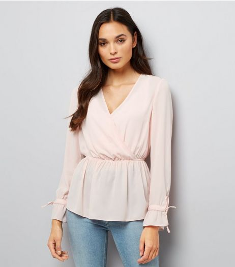 Pink Elasticated Waist Wrap Front Top  | New Look