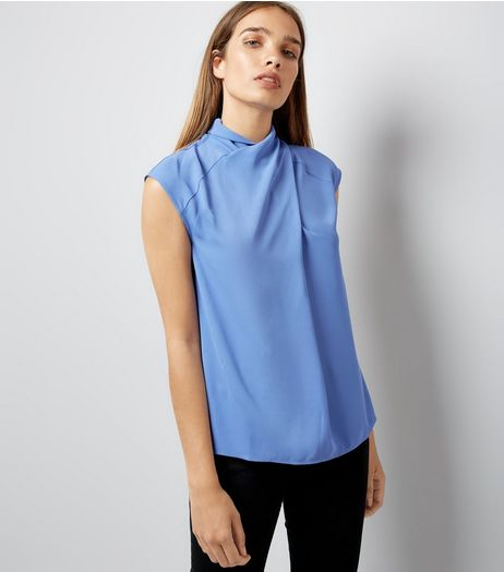 Blue Wrap Neck Sleeveless Top | New Look