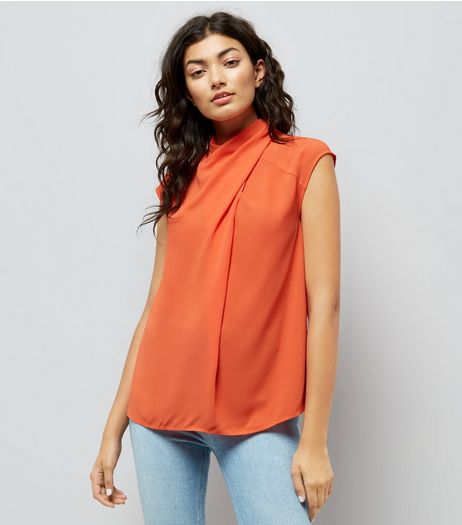 Orange Wrap Neck Sleeveless Top | New Look