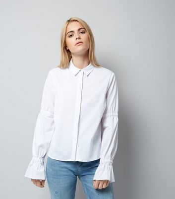 White Ruched Bell Sleeve Shirt