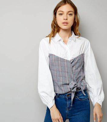White Contrast Check Body Bow Front Shirt