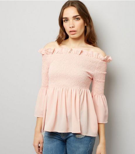 Cameo Rose Pink Frill Trim Bardot Peplum Top | New Look