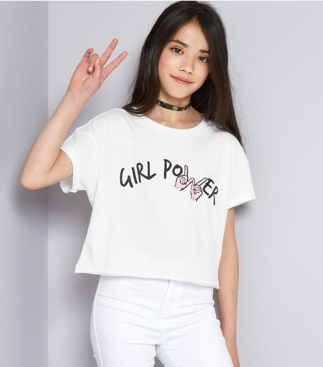 Teens White Girl Power Cropped T-Shirt | New Look