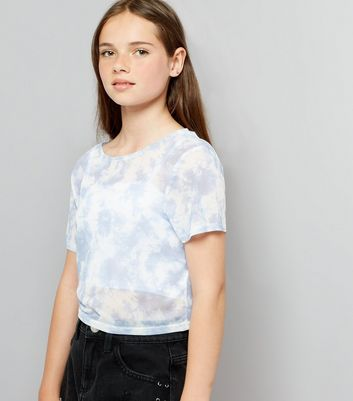 Teens Pale Blue Tie Dye Mesh Crop T-Shirt