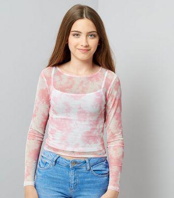 Teens Pink Tie Dye Mesh Top