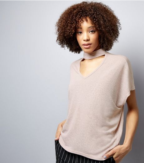 Blue Vanilla Shell Pink Choker Neck Oversized T-Shirt | New Look