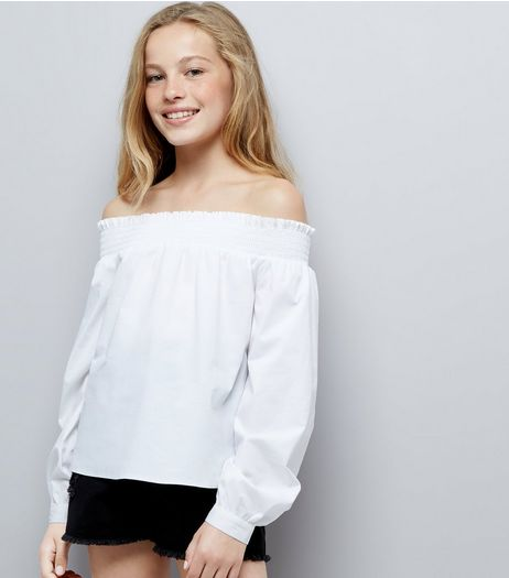 Teens White Long Sleeve Bardot Neck Top  | New Look