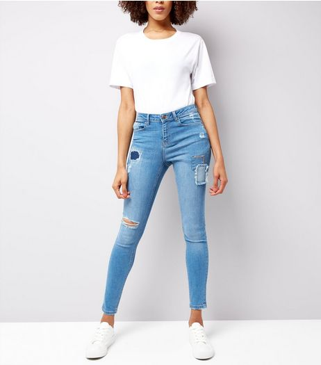 Urban Bliss Blue Ripped Skinny Jeans  | New Look