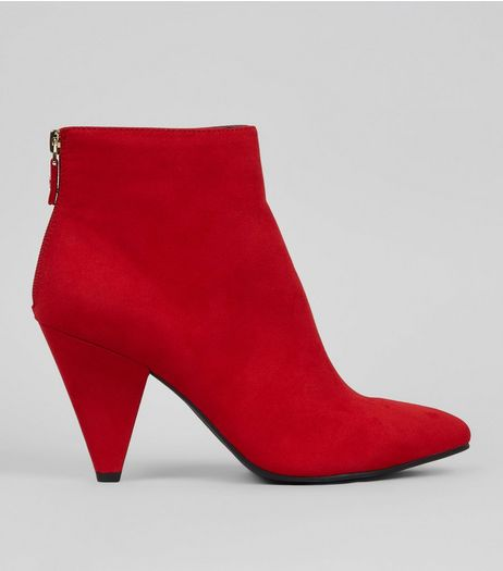 Red Suedette Ankle Heeled Boots  | New Look