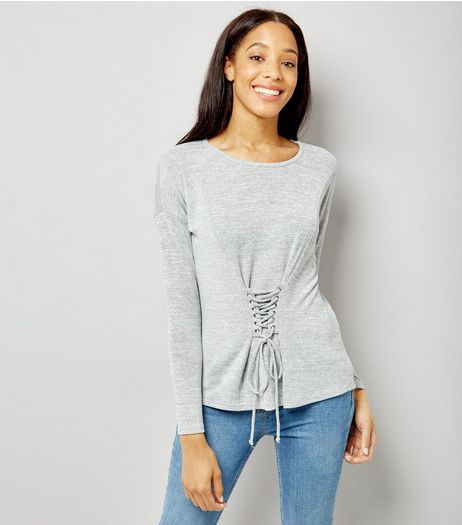 Blue Vanilla Grey Corset Long Sleeve Top | New Look