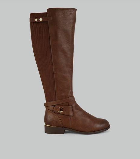 Brown Ankle Strap Knee High Boots | New Look