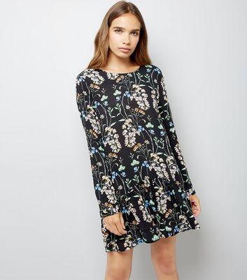 Blue Vanilla Black Floral Print Playsuit