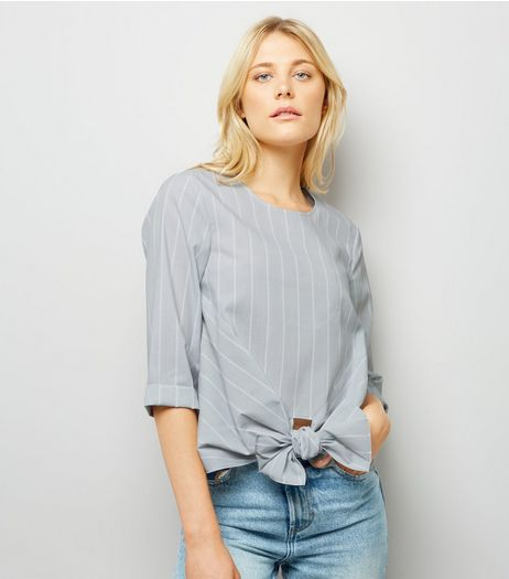 Grey Stripe Knot Front Poplin Top | New Look