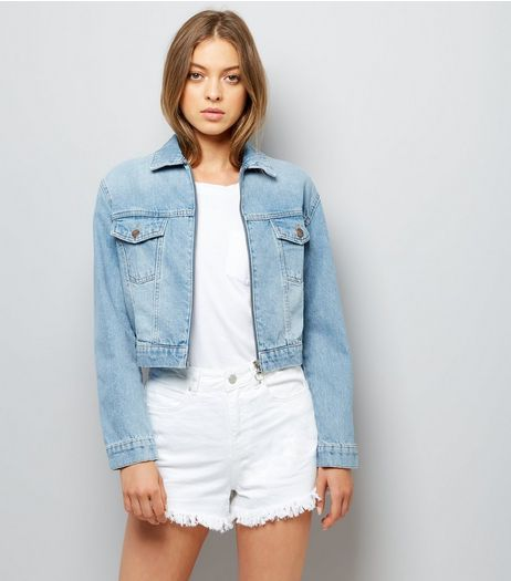 Blue Denim Cropped Zip Front Jacket | New Look