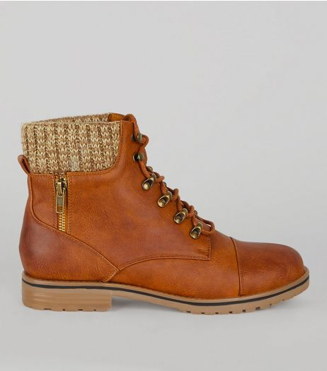 Tan Lace Up Knit Ankle Boots | New Look