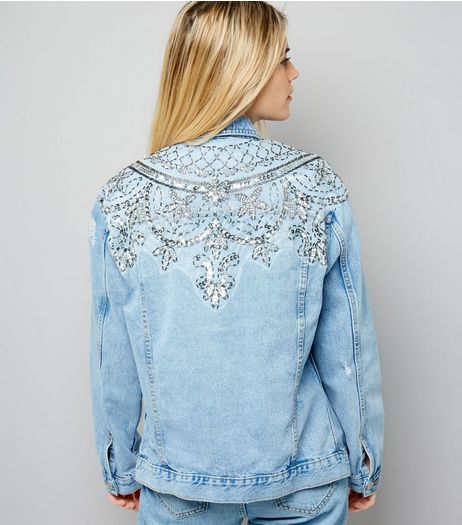 Blue Beaded Back Denim Jacket | New Look