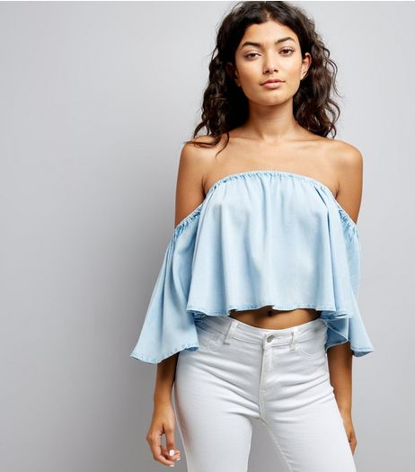 Blue Cropped Bardot Neck Top | New Look