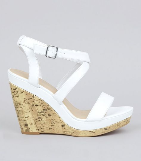 White Multi Strap Wedge Sandals | New Look