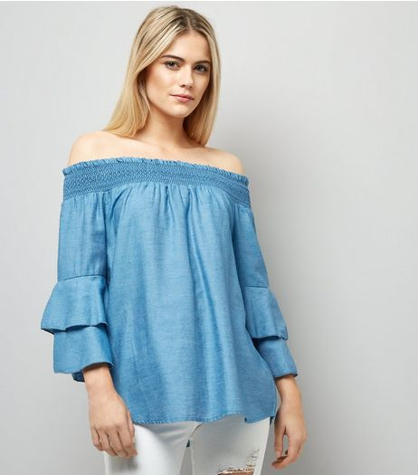 Blue Vanilla Blue Bardot Neck Frill Trim Top  | New Look
