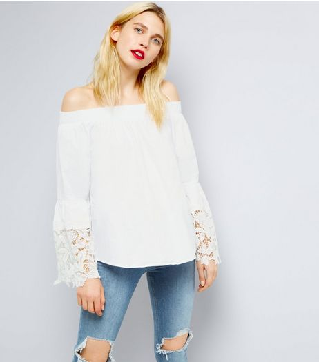 Blue Vanilla White Crochet Sleeve Bardot Top | New Look