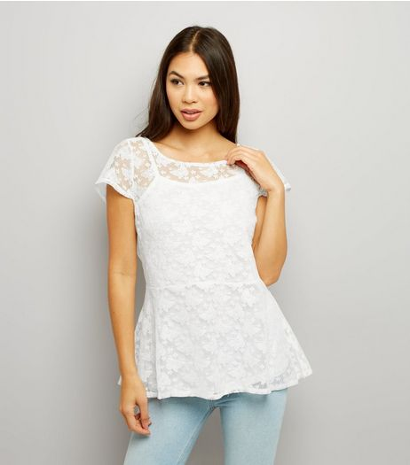 Blue Vanilla White Butterfly Lace Peplum Hem Top | New Look