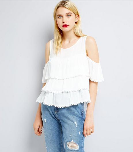 Blue Vanilla White Cold Shoulder Frill Tier Top | New Look