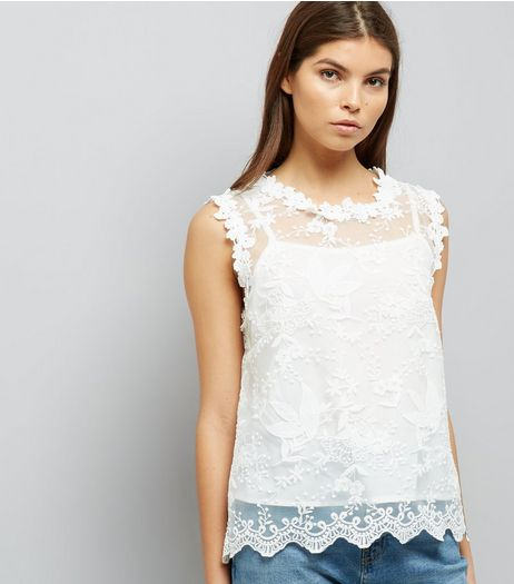 Blue Vanilla White Lace Sleeveless Top  | New Look
