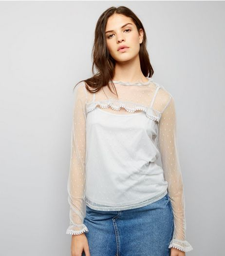 Blue Vanilla Grey Frill Trim Sheer Panel Top  | New Look