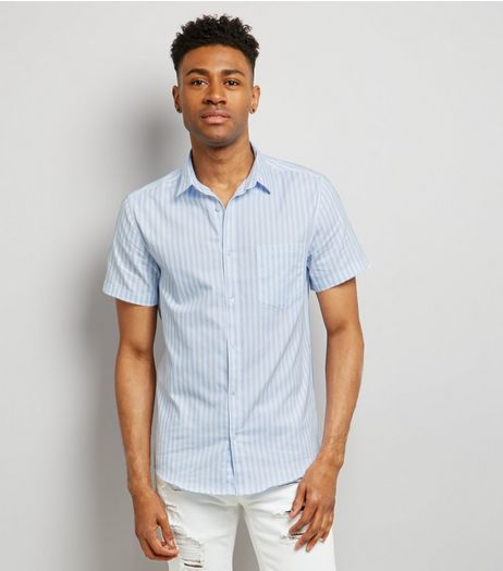 Blue Stripe Short Sleeve Shirt | New Look