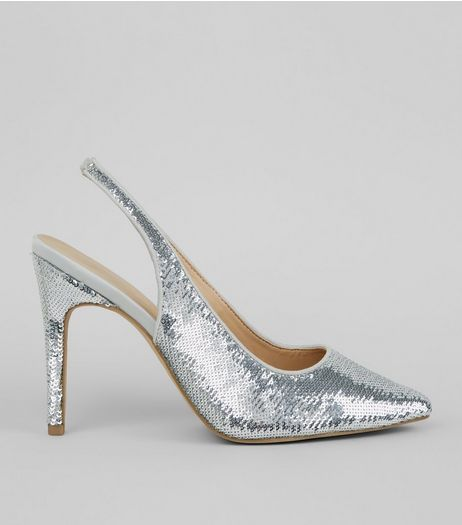 Wide Fit Silver Sequin Sling Back Heels  | New Look