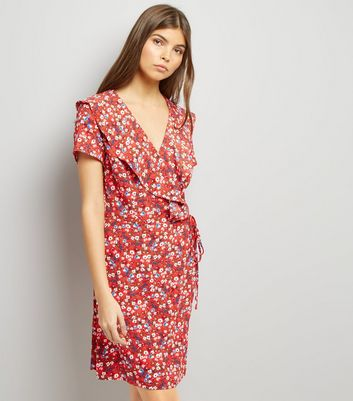 Red Floral Print V Neck Frill Trim Wrap Front Dress