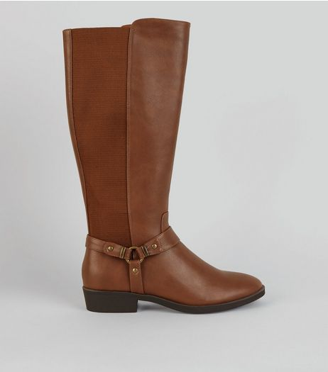 Tan Stirrup Knee High Boots | New Look